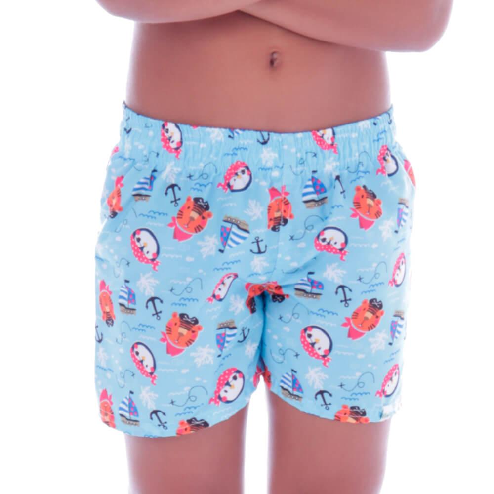 Short Infantil de Tactel Curto Piratinhas - Cecí
