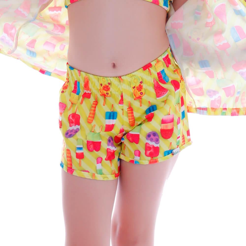 Short Infantil de Tactel Neon Ice Cream - Cecí