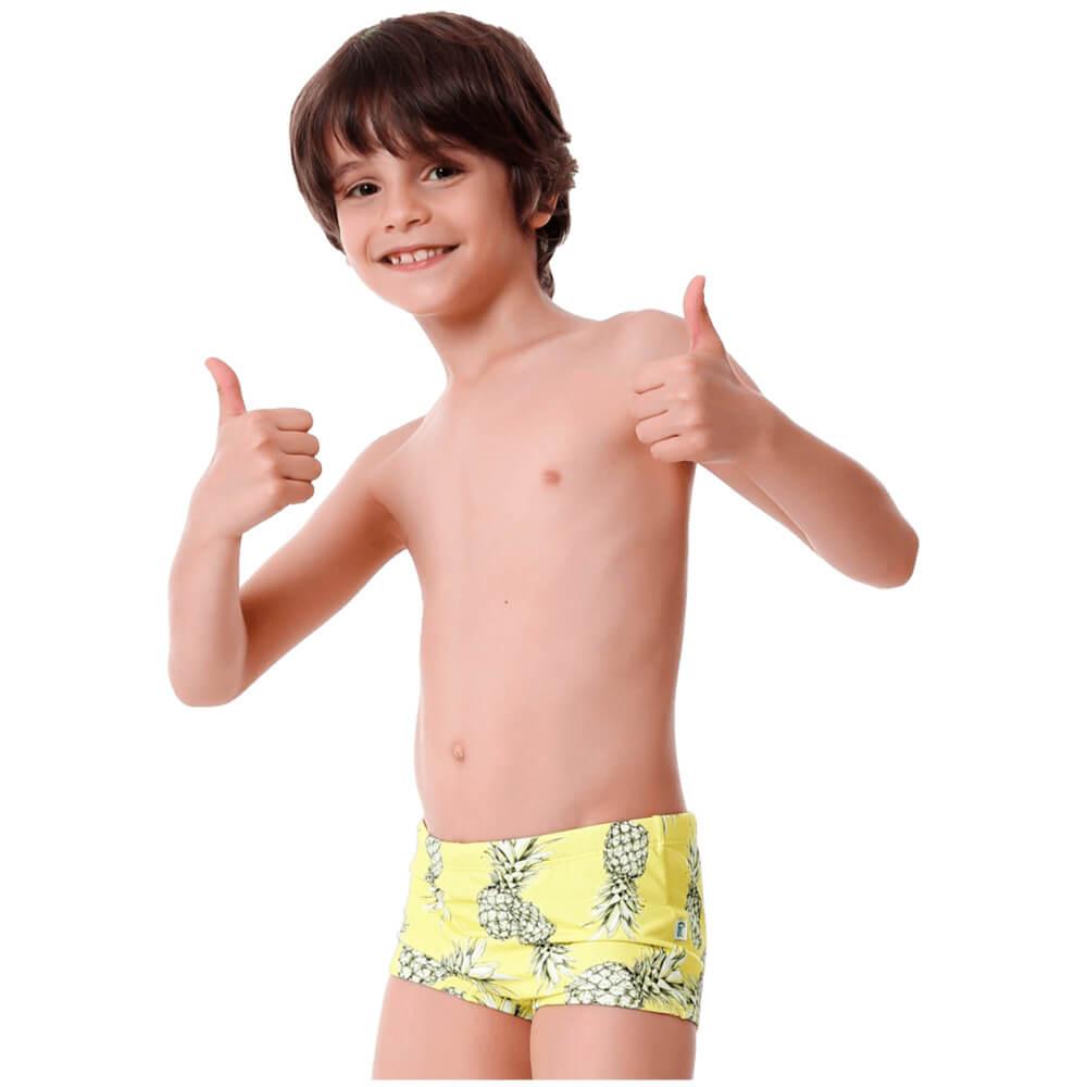 Sunga Infantil Boxer Abacaxi com Protecao UV