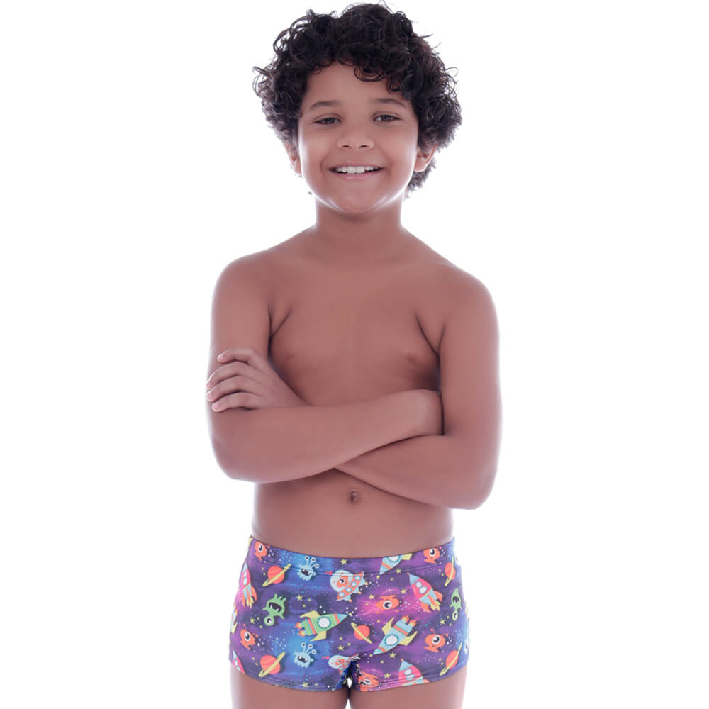 Sunga Infantil Boxer Diversão Espacial - Cecí