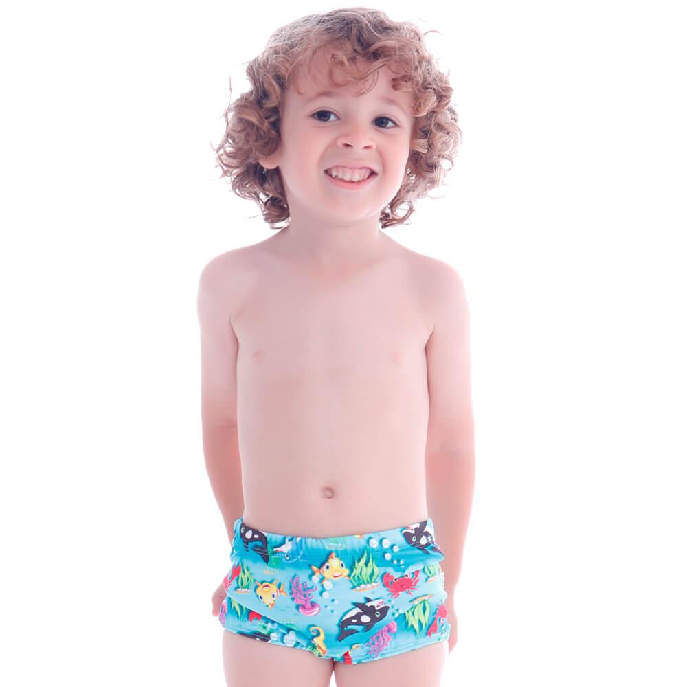 Sunga Infantil Boxer Fundo do Mar - Cecí