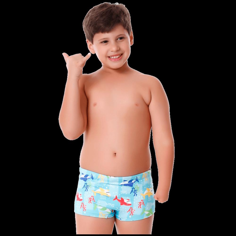 Sunga Infantil Boxer Tubarão com Protecao UV