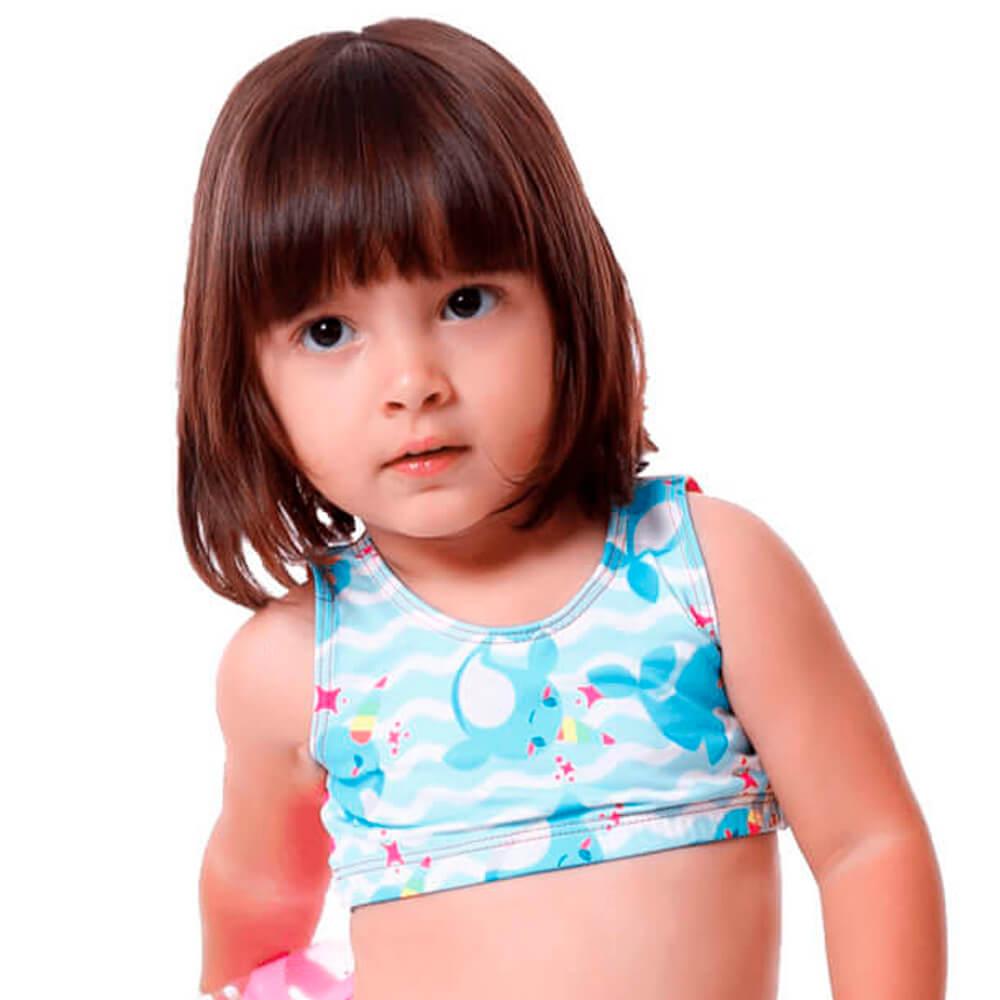 Top Biquini Baby Infantil Mini Baleia Unicornio Com Proteção UV