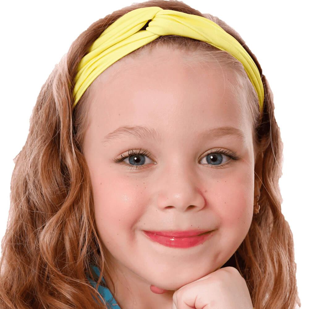 Turbante Infantil Com Proteção Uv50+ Amarelo