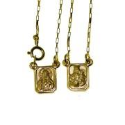 Escapulário em Ouro 18K Sagrado Coração de Jesus e Nossa Senhora do Carmo ESCPC50