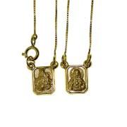 Escapulário em Ouro 18K Sagrado Coração de Jesus e Nossa Senhora do Carmo ESCPV50