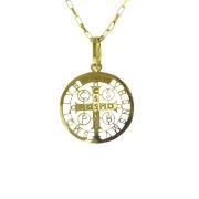 Gargantilha Infantil em Ouro 18K Medalha da Cruz de São Bento CPGE116
