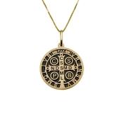 Gargantilha em Ouro 18K Medalha da Cruz de São Bento GA200