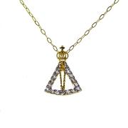 Gargantilha em Ouro 18K Medalha Nossa Senhora Aparecida com Zircônia GA011