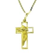 Pingente em Ouro 18K Crucifixo Face de Cristo PA14 com Corrente Piastrine 60cm