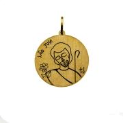 Pingente em Ouro 18K Medalha São José e Virgem Maria PI1210