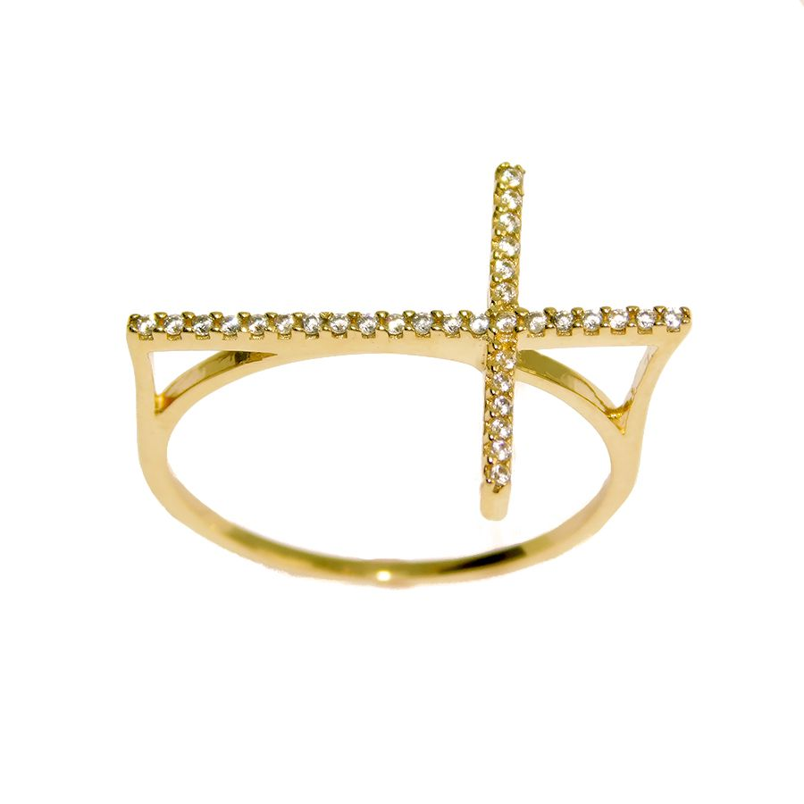 Anel em Ouro 18K Crucifixo NA911428