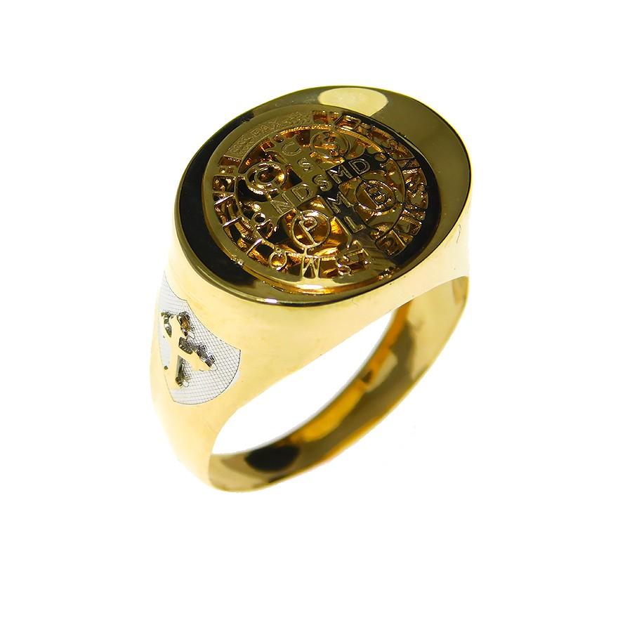 Anel em Ouro 18K Cruz Medalha de São Bento ANSB9010