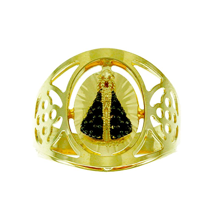 Anel em Ouro 18K Nossa Senhora Aparecida com Zircônia NA912476
