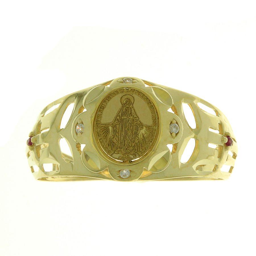 Anel em Ouro 18K Nossa Senhora das Graças com Zircônia NA912569