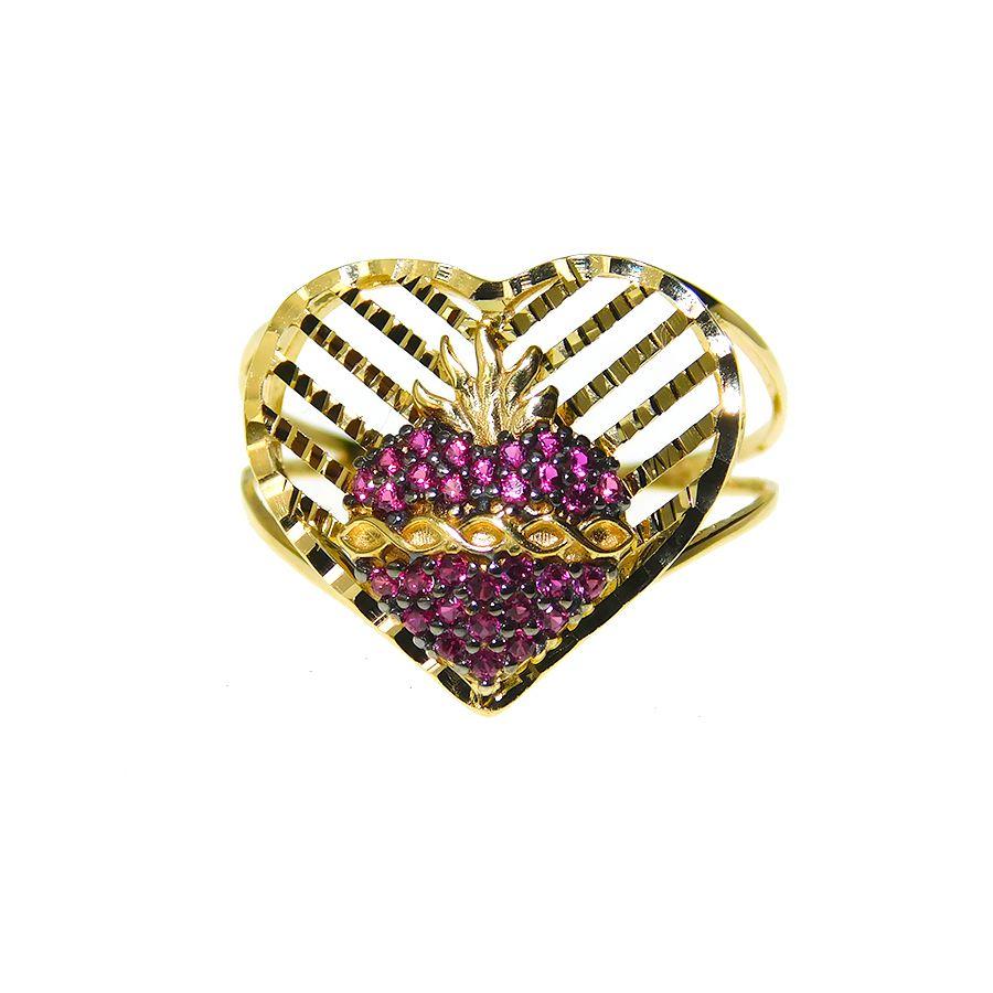 Anel em Ouro 18K Sagrado Coração de Jesus Medalha Imaculado Coração de Maria 5719Z