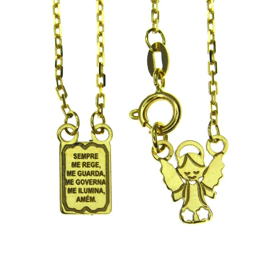Escapulário em Ouro 18K Anjo e Oração Infantil ESCLP12