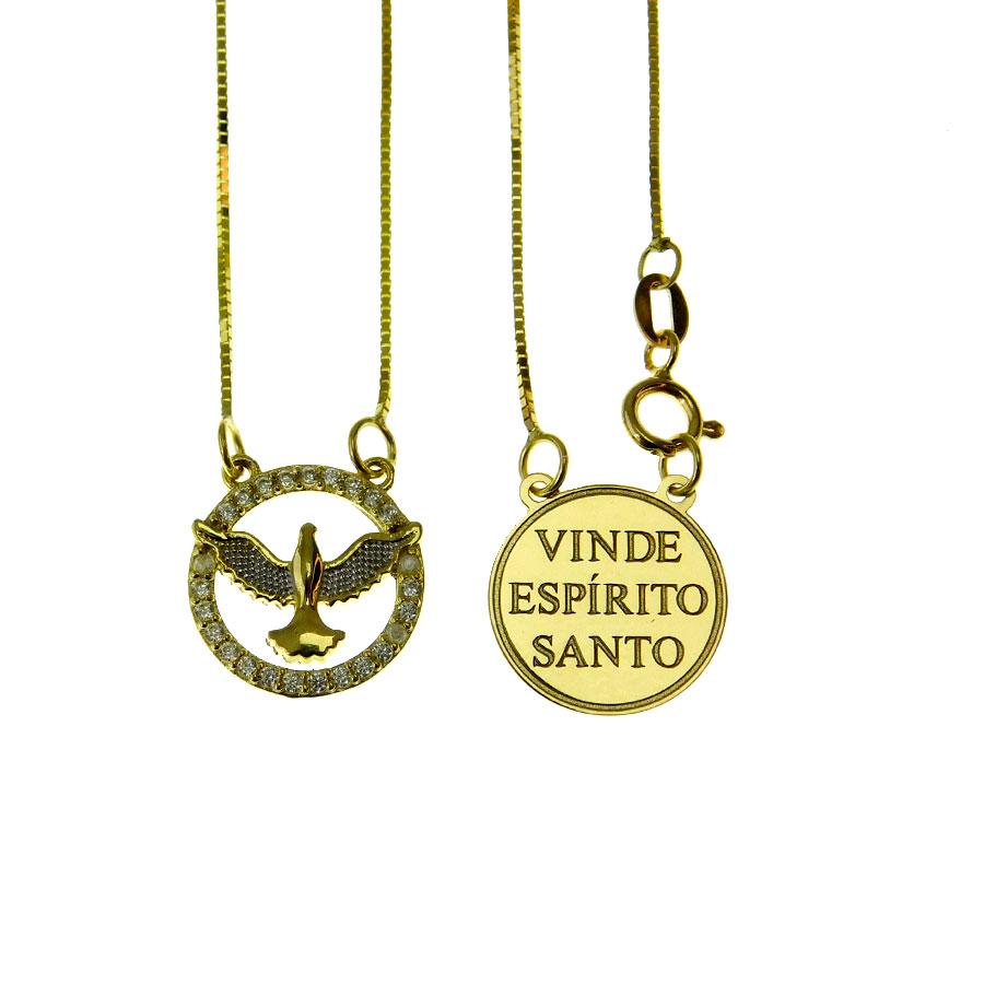 Escapulário em Ouro 18K Divino Espírito Santo ESC026 45CM