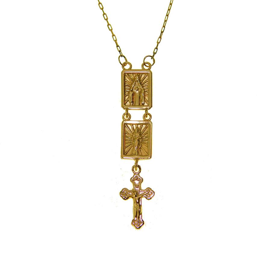 Escapulário em Ouro 18K Sagrado Coração de Jesus e Imaculado Coração de Maria ESC03