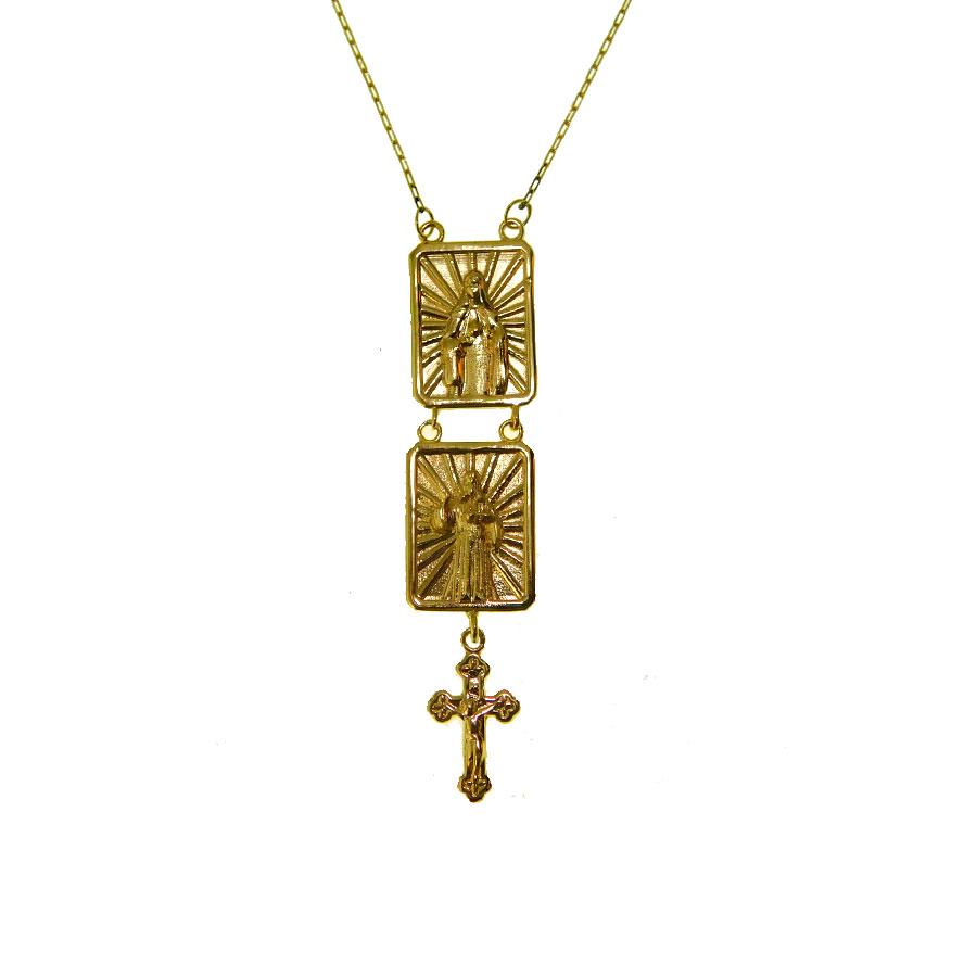Escapulário em Ouro 18K Sagrado Coração de Jesus e Imaculado Coração de Maria ESC04