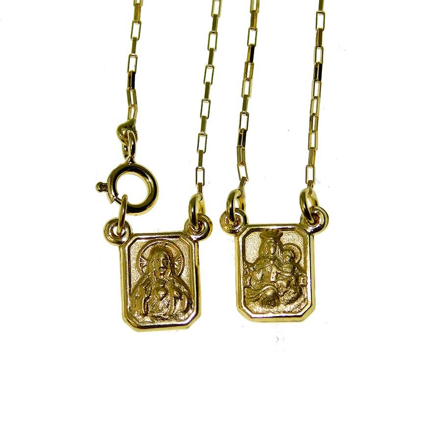 Escapulário em Ouro 18K Sagrado Coração de Jesus e Nossa Senhora do Carmo ESCPC60