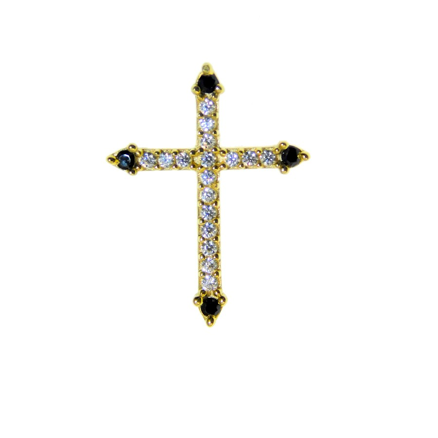 Gargantilha em Ouro 18K Crucifixo com Zircônia GAV93344