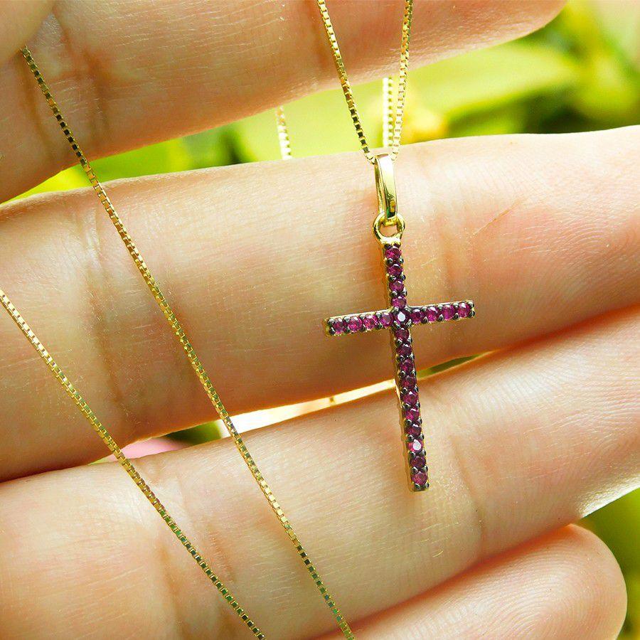 Gargantilha em Ouro 18K Crucifixo com Zircônia GCRU37Z