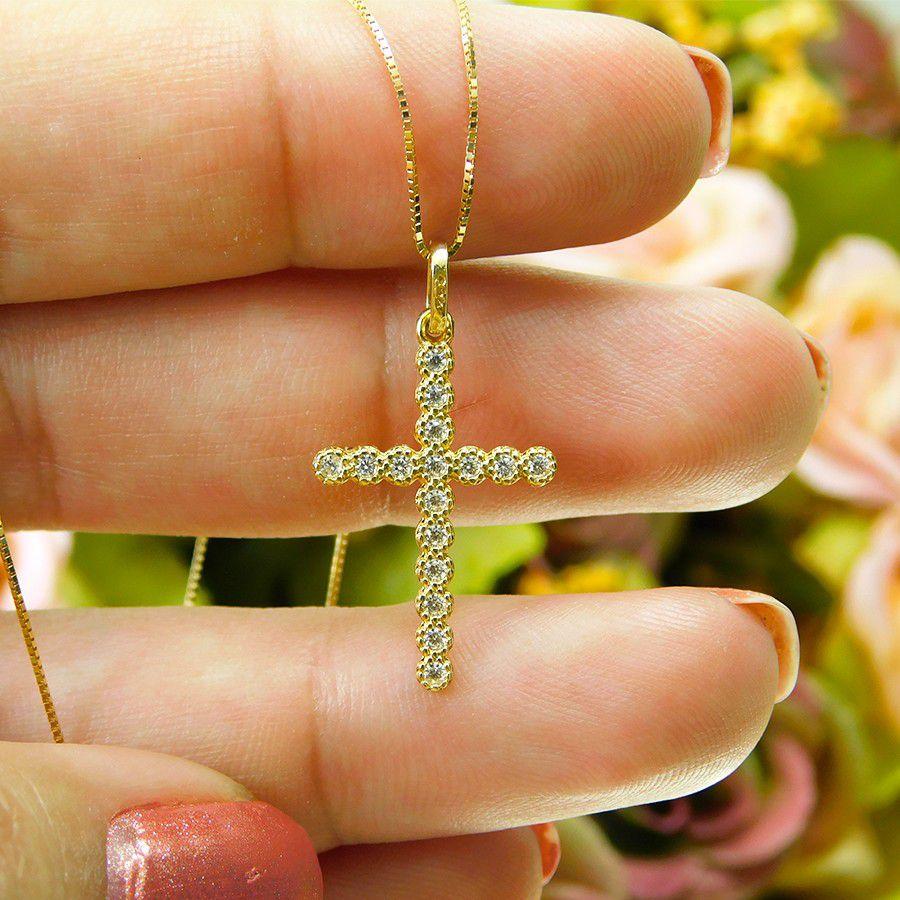 Gargantilha em Ouro 18K Crucifixo com Zircônia GCRU40Z