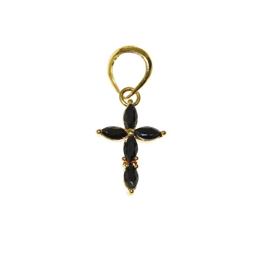 Gargantilha em Ouro 18K Crucifixo com Zircônia GPN122ZN