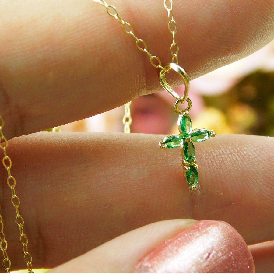 Gargantilha em Ouro 18K Crucifixo com Zircônia GPN122ZVD