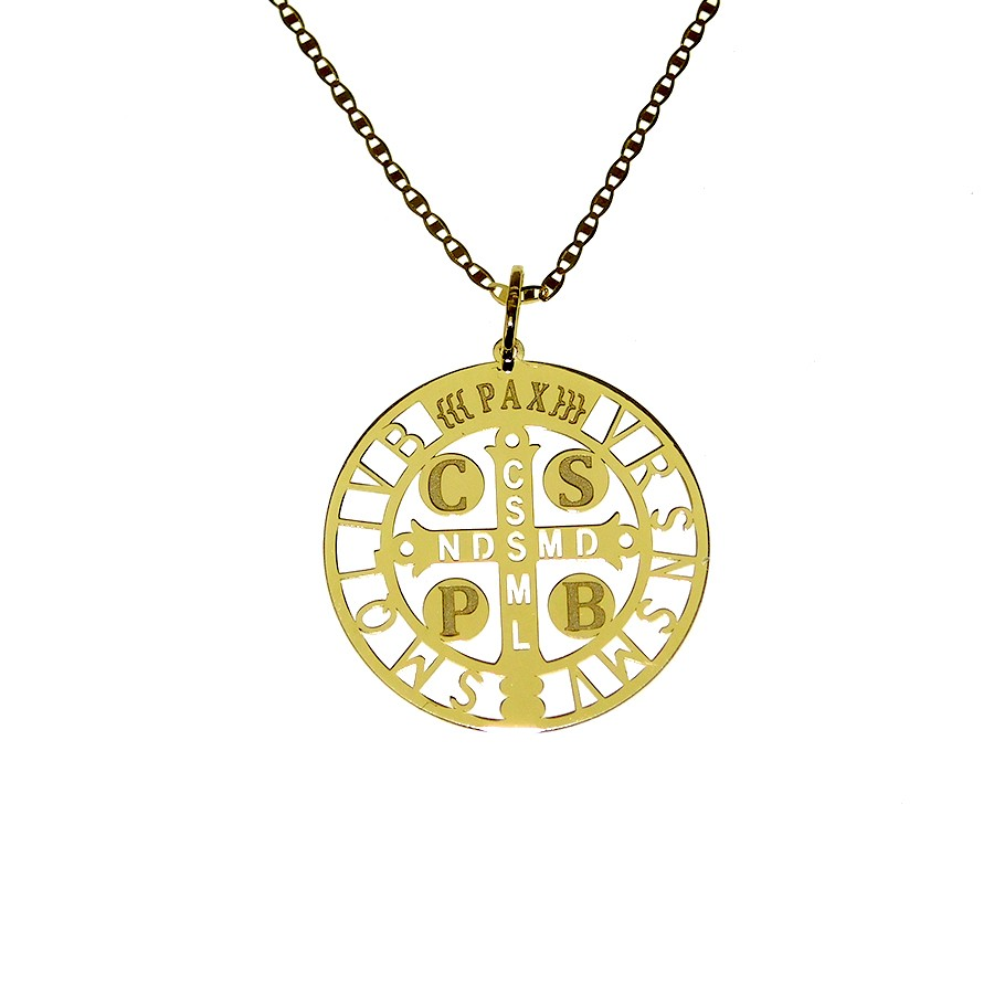 Gargantilha em Ouro 18K Crucifixo de São Bento GN9010