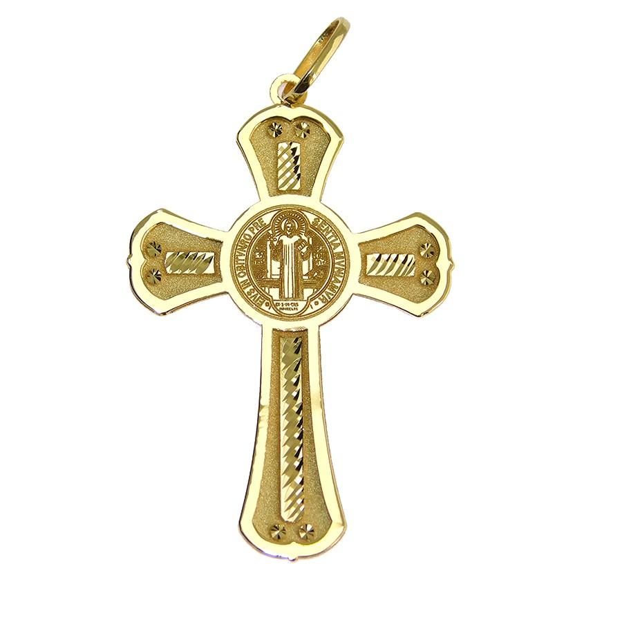 Gargantilha em Ouro 18K Crucifixo de São Bento NG913742
