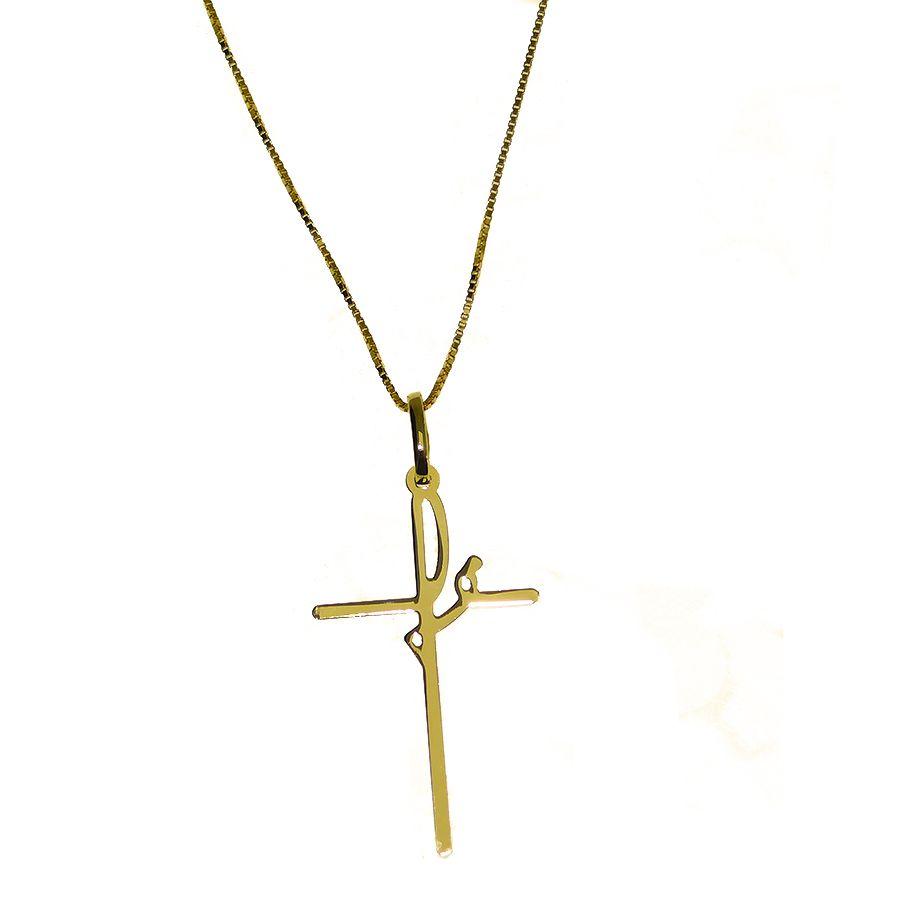 Gargantilha em Ouro 18K Crucifixo Fé NG916501