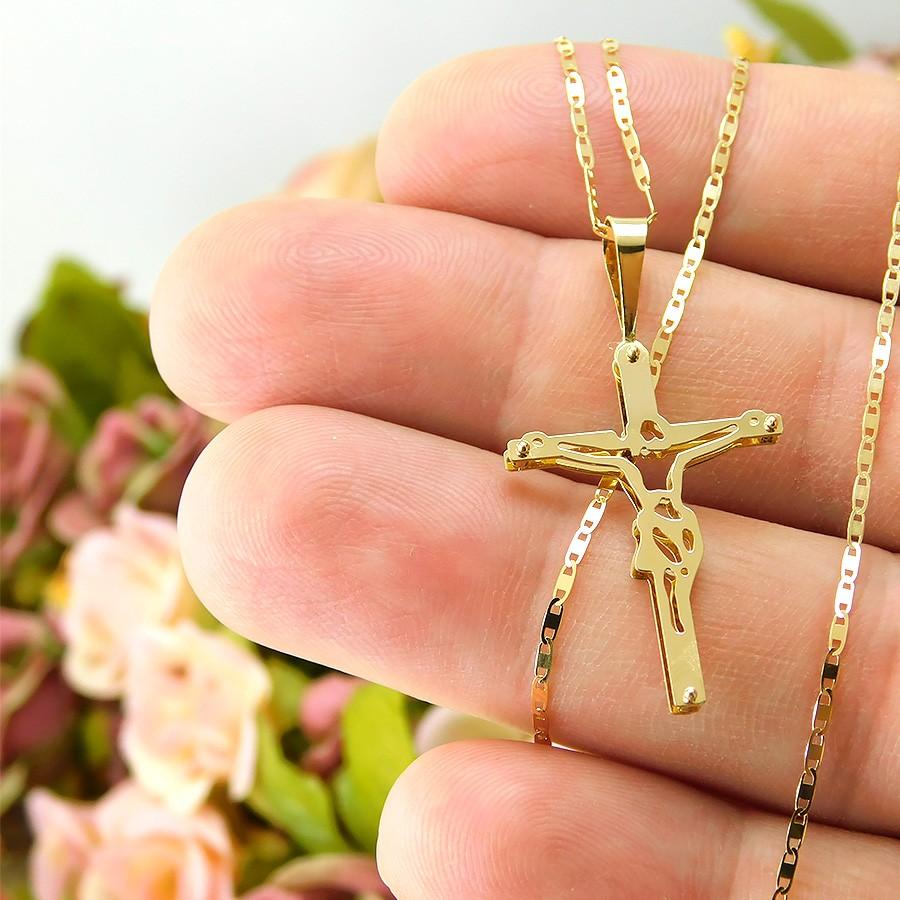 Gargantilha em Ouro 18K Crucifixo GAP98133