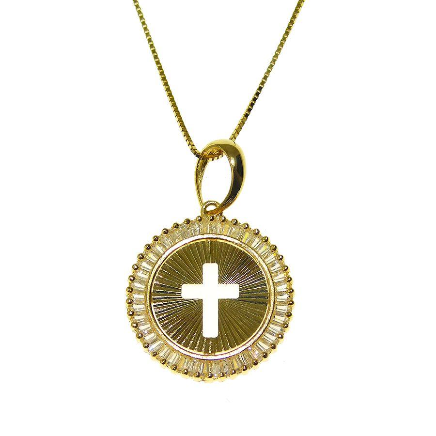 Gargantilha em Ouro 18K Medalha Crucifixo com Zircônia GPN177Z