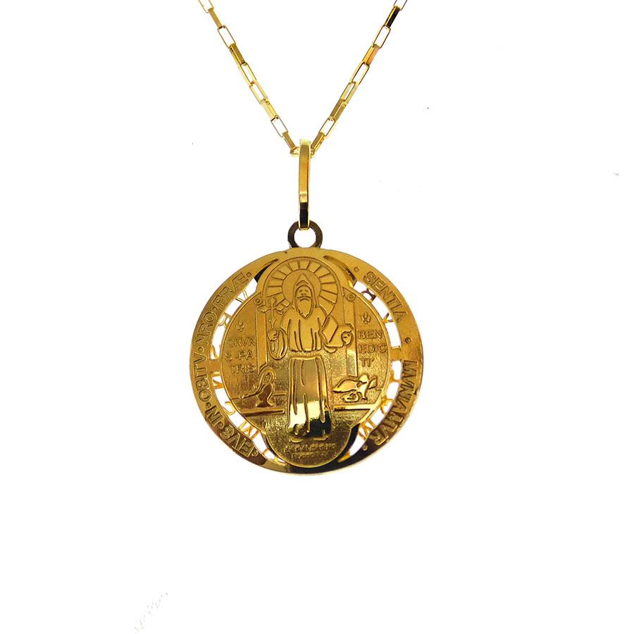 Gargantilha em Ouro 18K Medalha da Cruz de São Bento CPGE03