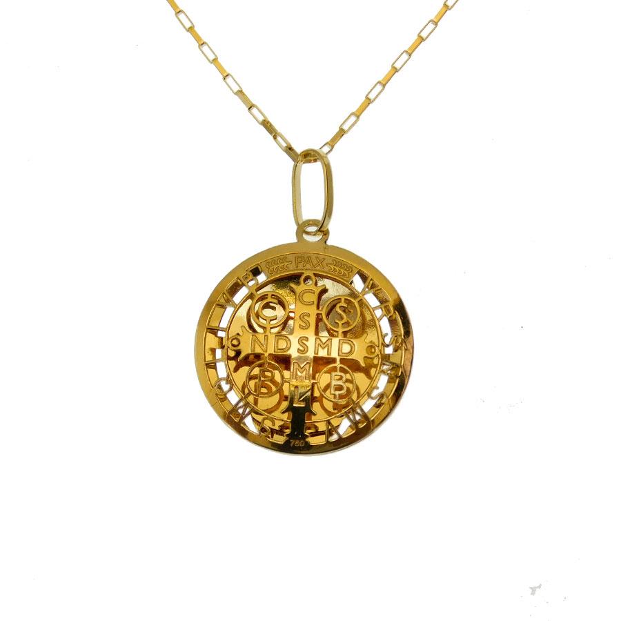 Gargantilha Infantil em Ouro 18K Medalha da Cruz de São Bento CPGE23