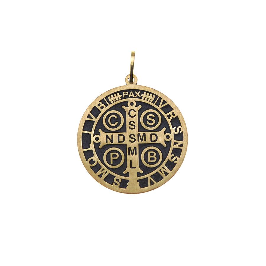 Gargantilha em Ouro 18K Medalha da Cruz de São Bento GA1170
