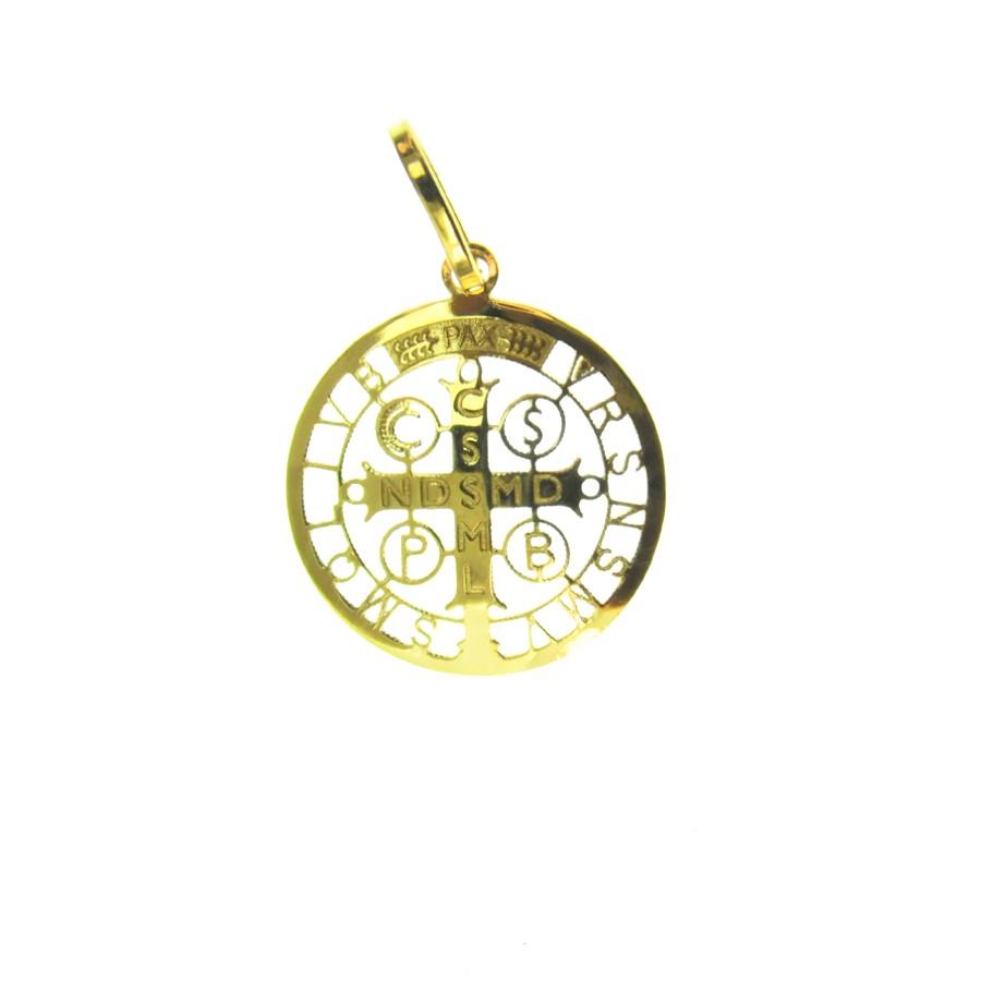 Gargantilha em Ouro 18K Medalha da Cruz de São Bento GPGE116