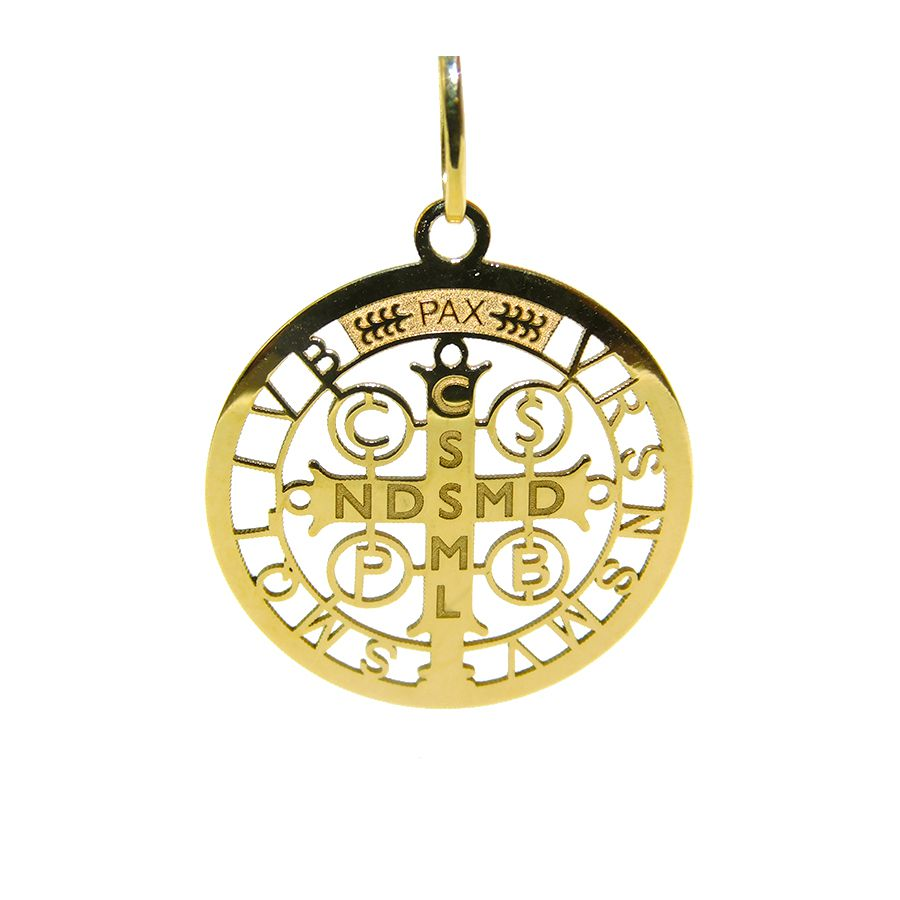 Gargantilha em Ouro 18K Medalha da Cruz de São Bento GPGE20