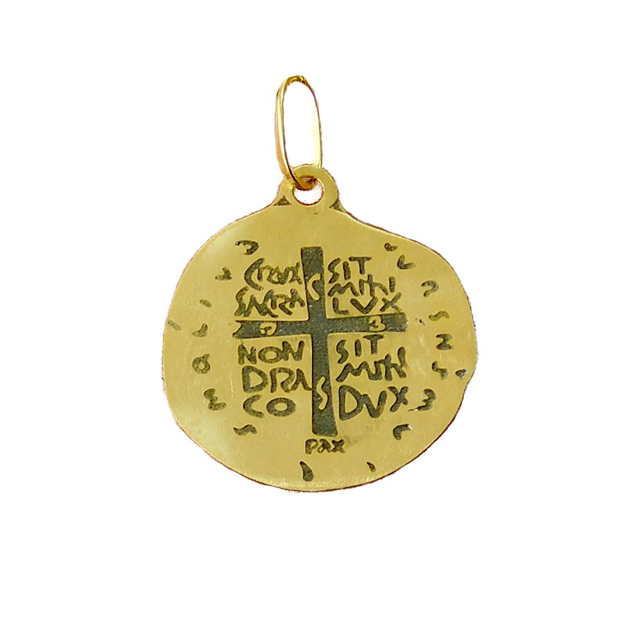 Gargantilha em Ouro 18K Medalha das Duas Cruzes GPGE101