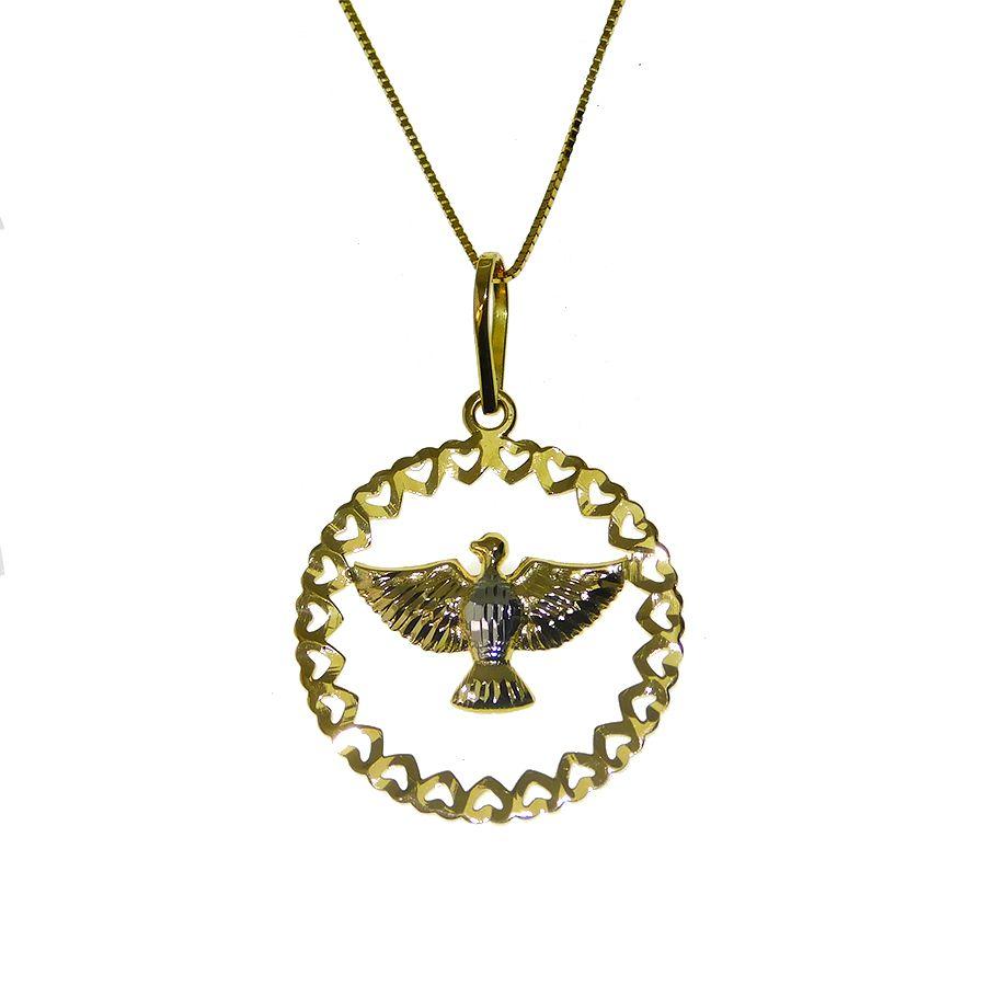 Gargantilha em Ouro 18K Medalha Divino Espírito Santo GPGH036