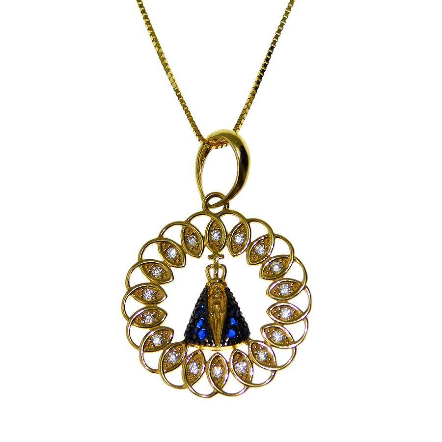 Gargantilha em Ouro 18K Medalha Nossa Senhora Aparecida com Zircônia GPN037