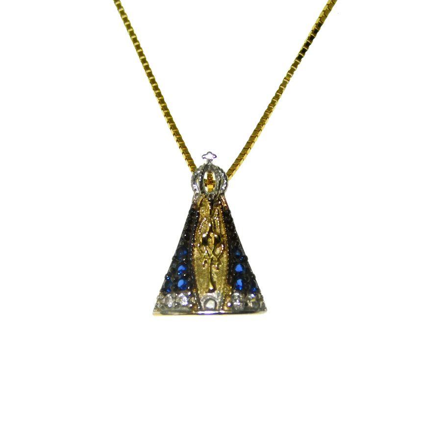 Gargantilha em Ouro 18K Medalha Nossa Senhora Aparecida com Zircônia GSTMI03Z
