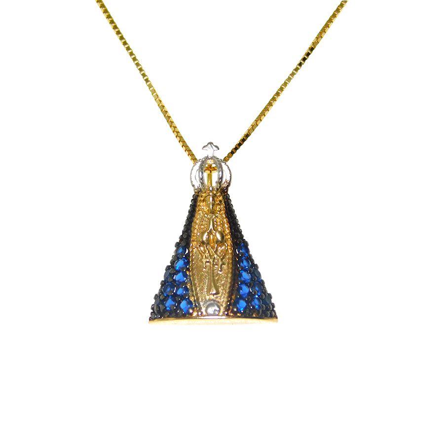 Gargantilha em Ouro 18K Medalha Nossa Senhora Aparecida com Zircônia GSTP03Z