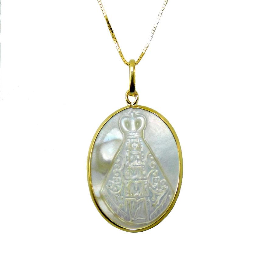 Gargantilha em Ouro 18K Medalha Nossa Senhora Aparecida GA016