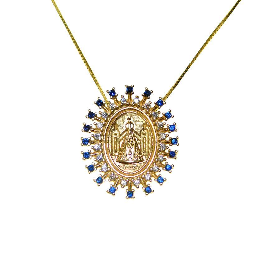 Gargantilha em Ouro 18K Medalha Nossa Senhora Aparecida GSTM14ZA