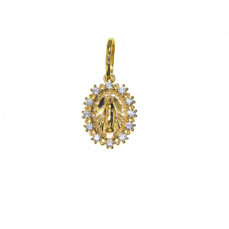 Gargantilha em Ouro 18K Medalha Nossa Senhora das Graças GAS910647