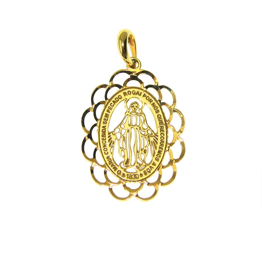 Gargantilha em Ouro 18K Medalha Nossa Senhora das Graças GAS97672