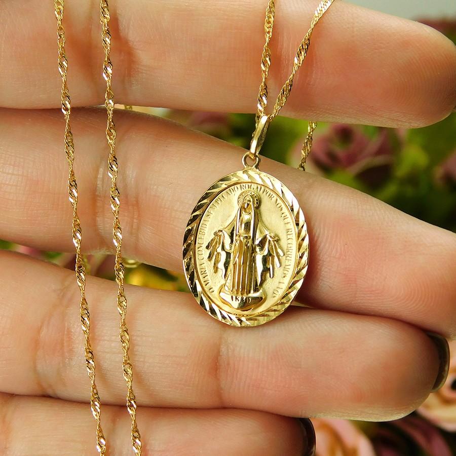 Gargantilha em Ouro 18K Medalha Nossa Senhora das Graças GAS99583
